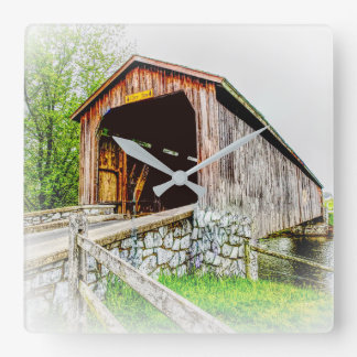 Covered Bridge Art - Square Clock