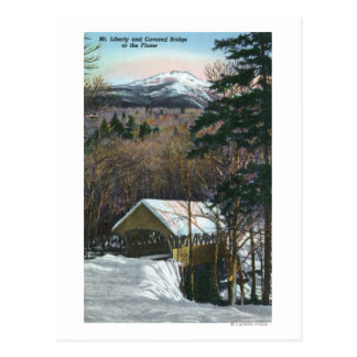 Covered Bridge at Flume in Winter Postcard