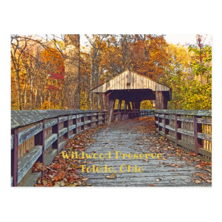 """Covered Bridge at Wildwood Preserve In Autumn"" Postcard"