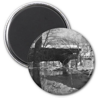 Covered Bridge (black and white) 2 Inch Round Magnet