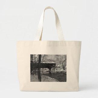 Covered Bridge (black and white) Jumbo Tote Bag