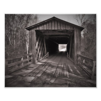 Covered bridge black and white photo print
