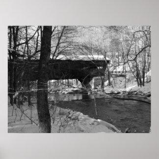 Covered Bridge (black and white) Poster