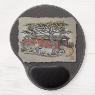 Covered Bridge & Boy Gel Mouse Pad