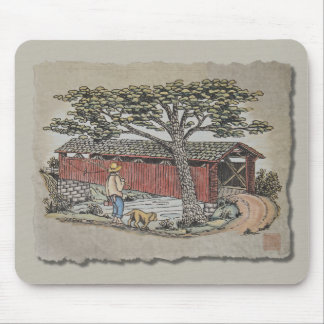 Covered Bridge & Boy Mouse Pad