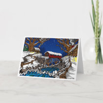 Covered Bridge Christmas Greeting Card