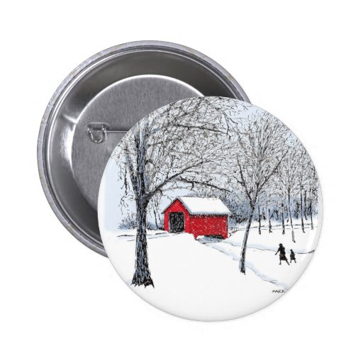 Covered Bridge Pinback Buttons