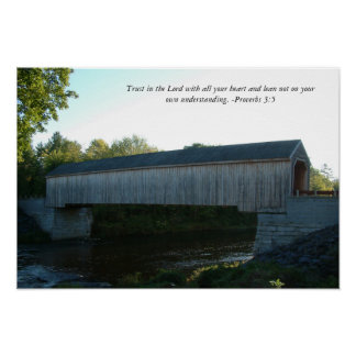 Covered Bridge Poster with Bible Verse