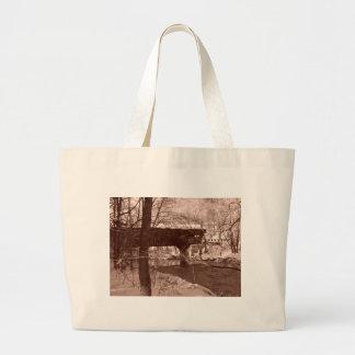 Covered Bridge (sepia) Jumbo Tote Bag