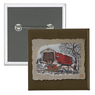 Covered Bridge & Sleigh Pinback Buttons