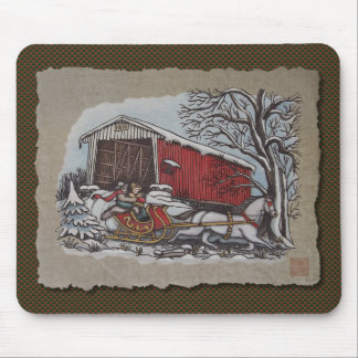 Covered Bridge & Sleigh Mouse Pad