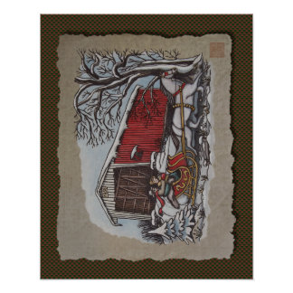 Covered Bridge & Sleigh Poster
