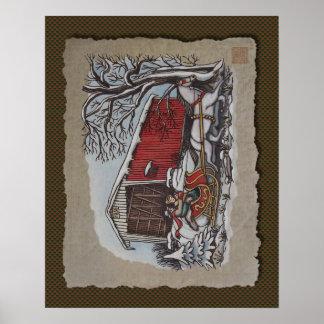 Covered Bridge & Sleigh Print