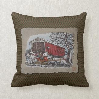 Covered Bridge & Sleigh Throw Pillow