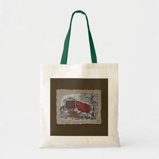 Covered Bridge & Sleigh Tote Bag