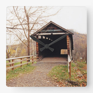 Covered Bridge Square Wall Clock