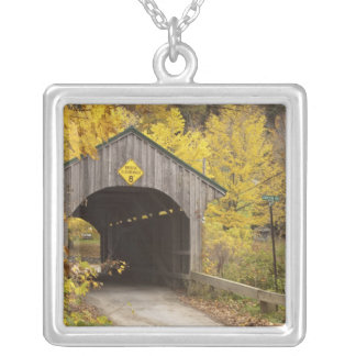 Covered bridge, Vermont, USA 2 Silver Plated Necklace