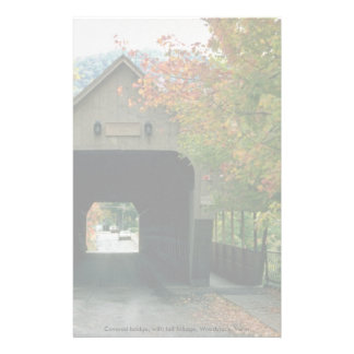 Covered bridge, with fall foliage, Woodstock, Verm Personalized Stationery