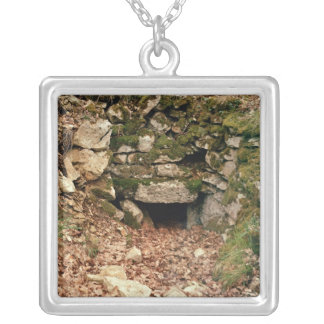 Covered entrance to a tumulus silver plated necklace