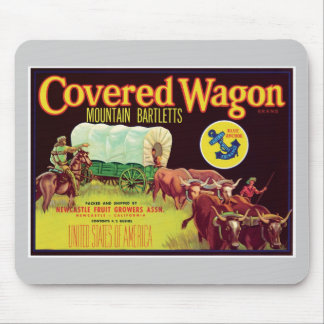 Covered Wagon Fruit Vintage Label Mouse Pad