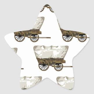covered wagon lines star sticker