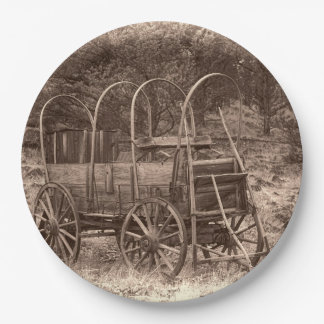 COVERED WAGON PAPER PLATE