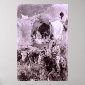 Covered Wagon Pioneers Print