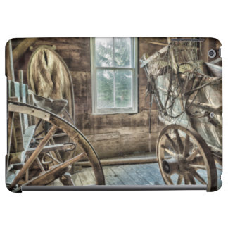 Covered wagon, wooden wagon wheel iPad air cases