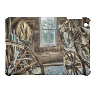Covered wagon, wooden wagon wheel iPad mini cases