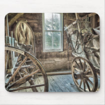 Covered wagon, wooden wagon wheel mouse pad