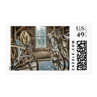 Covered wagon, wooden wagon wheel postage
