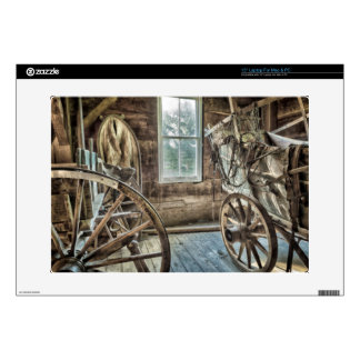 Covered wagon, wooden wagon wheel skin for laptop