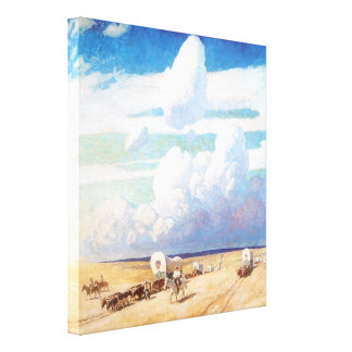 Covered Wagons by Wyeth Vintage Western Cowboys Stretched Canvas Prints