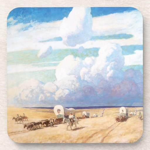 Covered Wagons by Wyeth, Vintage Western Cowboys Coasters