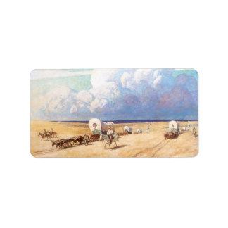Covered Wagons by Wyeth, Vintage Western Cowboys Address Label