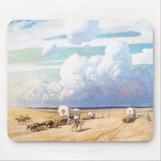 Covered Wagons by Wyeth, Vintage Western Cowboys Mouse Pad