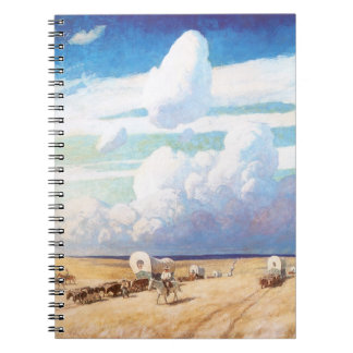 Covered Wagons by Wyeth Vintage Western Cowboys Note Book