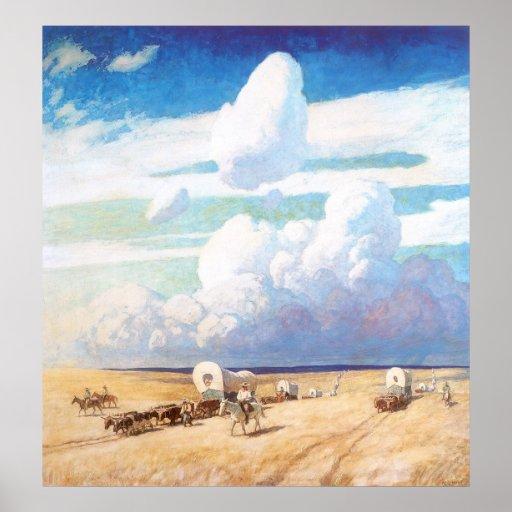 Covered Wagons by Wyeth, Vintage Western Cowboys Print