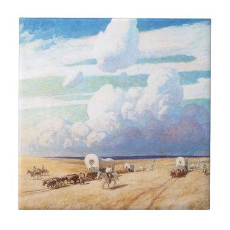 Covered Wagons by Wyeth, Vintage Western Cowboys Tiles
