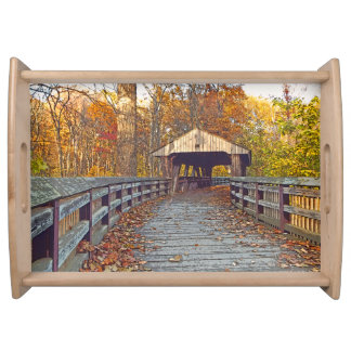 """""""COVERED WOODEN BRIDGE IN WOODS WITH FALL LEAVES"""" SERVING TRAY"""