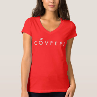 COVFEFE with hashtag accent mark | Funny Red Vneck T-Shirt