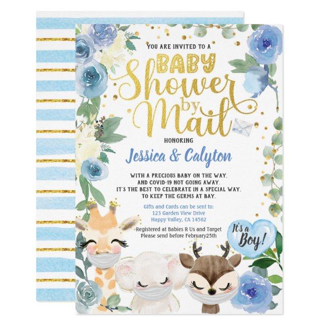 Covid Boy Shower By Mail Pandemic Woodland Animal Invitation