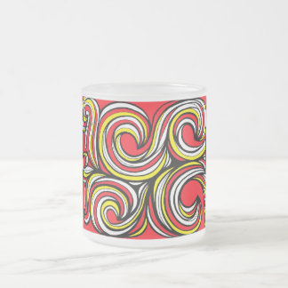 Covone Abstract Expression Yellow Red 10 Oz Frosted Glass Coffee Mug