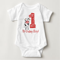 Cow 1st Birthday Creeper for Boy