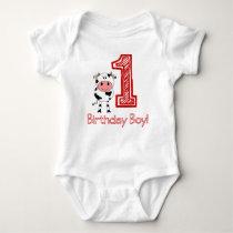 Cow 1st Birthday Creeper for Boy