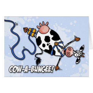 cow-a-bungee greeting card