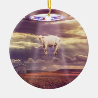 Cow Abducted by Aliens Fantasy Art Ceramic Ornament