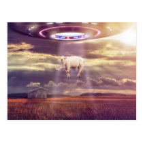 Cow Abducted by Aliens Fantasy Art Postcard
