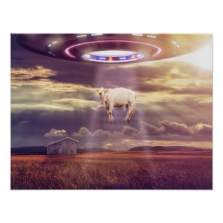 Cow Abducted by Aliens Fantasy Art Poster