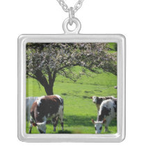 Cow among blooming apple trees in Normandy Silver Plated Necklace